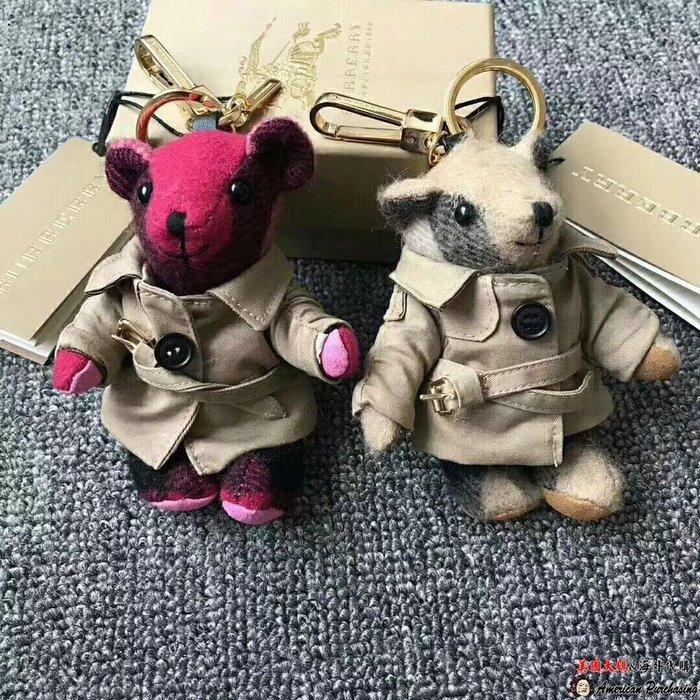 美國大媽代購 Burberry 潮流新寵 新款風衣小熊掛飾 英倫時尚 美國outlet代購
