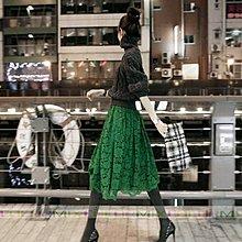 蕾絲 公主 大擺半身裙  及膝裙 蓬蓬裙 裙子 高腰 中裙 黑色 綠色 韓版荷葉邊 女裙 ~美學達人SK01
