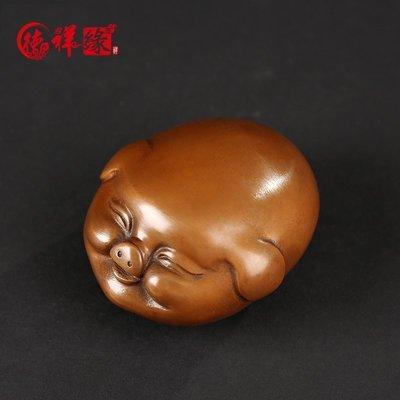 紫銅迷你豬家居招財福豬擺件辦公室生肖豬純銅小把玩件