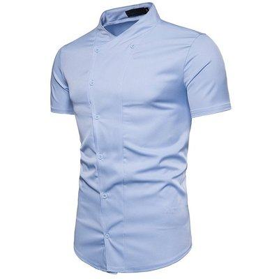 【佐色男裝】4/2 外貿新款韓版英倫風型男短袖襯衫純色時尚雙排扣門襟立領修身短袖襯衣W553