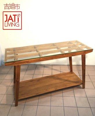 【吉迪市柚木家具專賣 JatiLiving】柚木 格子邊桌、玄關桌、中島(含8mm強化玻璃)