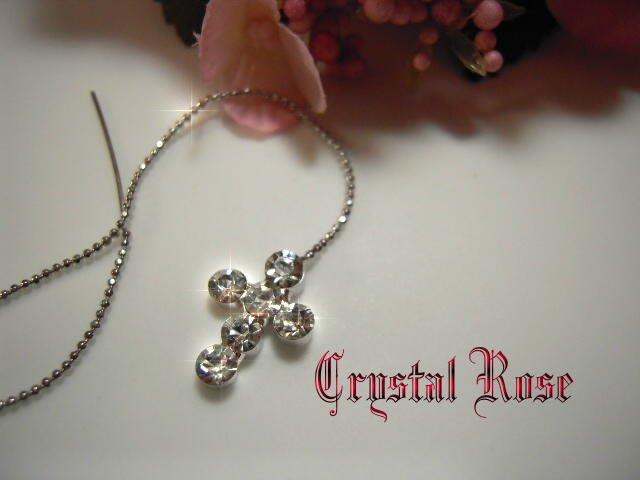 ※水晶玫瑰※ 水晶鑽 耳針式耳環(DD399)