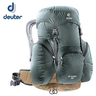丹大戶外【Deuter】德國 Groden 32 網架直立式拔熱透氣休閒旅遊登山背包 3430316 灰/咖啡