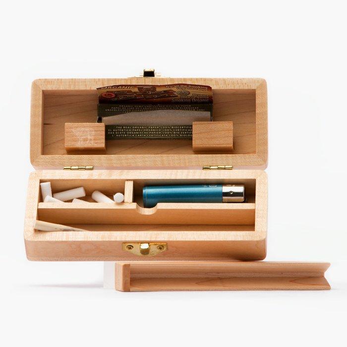 黑羊選物 捲菸置物盒 小木盒 捲煙紙卡槽 置物分隔 方便攜帶配件不凌亂 一個木盒搞定所有配件
