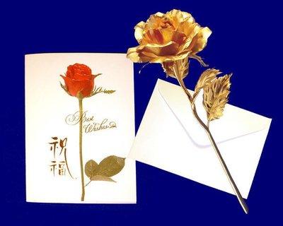 黃金 玫瑰花or 康乃馨     贈精美卡片 金箔花  母親節 情人節禮品