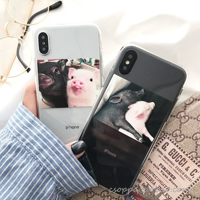 搞怪可愛萌小豬蘋果X/Xs/Max/XR手機殼iphone7plus/8硅膠套情侶6S