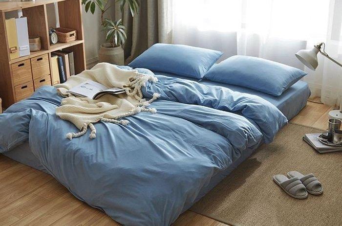 純棉親膚裸睡專用床包組(天空藍) 床包 床單 枕頭套 枕頭 床 棉被 被套 寢具 裸睡 純棉 床包組 拖鞋 室內拖鞋