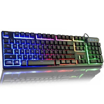 ZIHOPE 如意鳥 背光游戲電腦臺式家用發光機械手感筆記本外接USB有線鍵盤ZI812