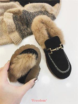 Freedom~女鞋真皮網紅毛毛鞋女冬外穿2018新款懶人一腳蹬兔毛軟底豆豆鞋保暖鞋