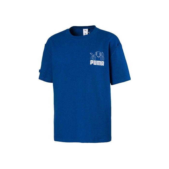 POMELO柚 PUMA TYAKASHA 系列 短袖T恤 胸口塗鴉 藍色 厚棉 男款 595559-39