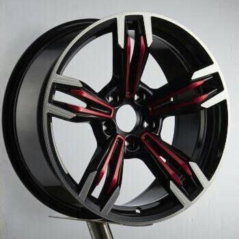 ╭☆輪鋪☆╯全新 類M6 18吋5孔120 BMW X1/X3/E46/E90/E60 黑套紅銀邊鋁圈