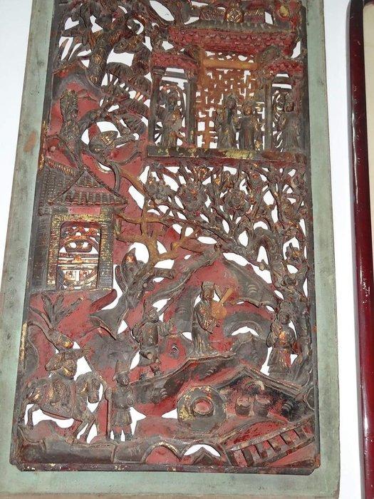 [御寶閣] 古董 文物 藝品 字畫 化石~大片老窗花一對 多層透雕 老木雕 立體透雕 百年文物 百年窗花