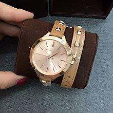 【Michael Kors代購館 】美國正品MK2299 時尚個性鉚釘真皮雙環錶帶女錶 限量版手錶 超低直購購