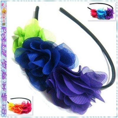 ☆POLLY媽☆美國LuLu NEON霓虹螢光色雪紡紗3朵排花型黑色包緞細版髮箍~3色系
