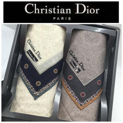 【皮老闆二店】新古真品 Christian Dior 手帕  2件盒裝手帕組  狀況不錯 盒259