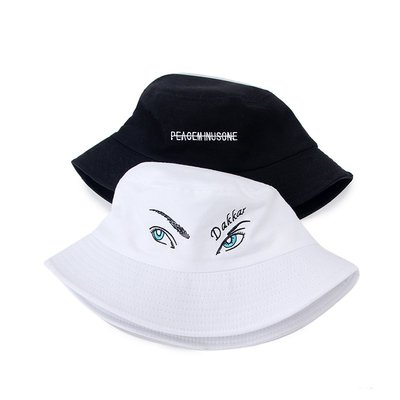 棒球帽 盆帽 鴨舌帽 太陽帽 禮帽GD權志龍同款歐美潮牌眼睛英文刺繡漁夫帽遮陽帽潮品男女情侶款