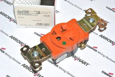 美國COOPER IG8410RN 20A 250V 單聯單電源 獨立接地 橘色醫療級電源插座 (SINGLE型)