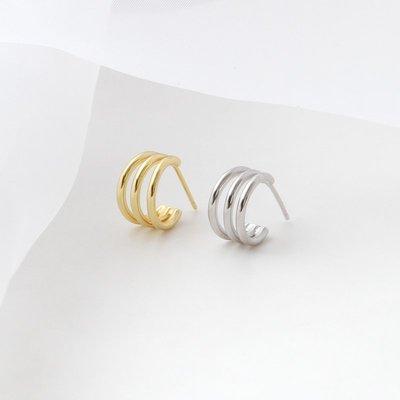 FEI日韓代購~S925純銀三圈耳釘女輕奢小眾簡約耳環高級感耳飾氣質百搭歐美風