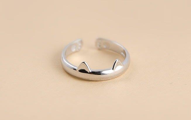 *☆~ 水晶森林手創館~*☆~可愛小貓耳朵戒指 國際標準925純銀戒指~情人禮物 情侶對戒