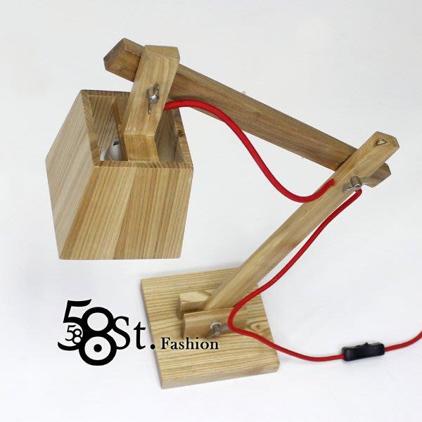 【58街】義大利設計師款式「C款_木頭台燈,木製桌燈」美術燈,複刻版。GL-147