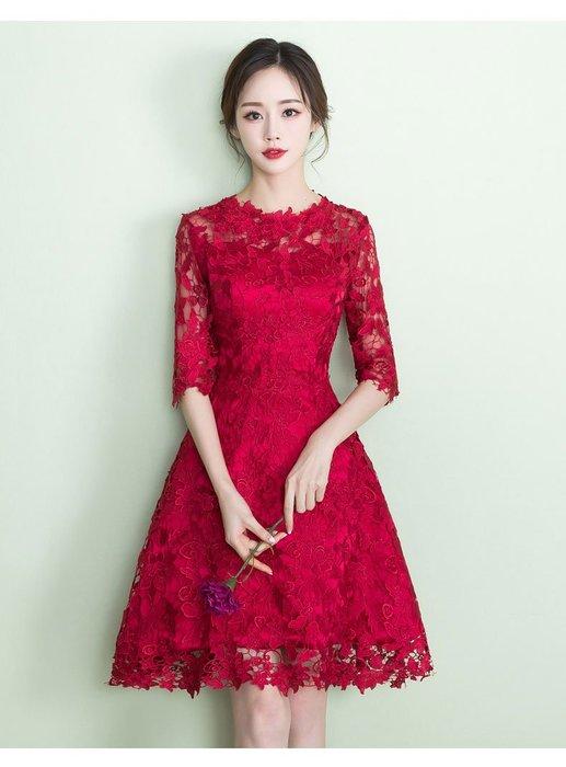 【曼妮婚紗禮服】3件免郵~結婚伴娘禮服 婚宴 喜宴 宴會 修身顯瘦 小禮服HA236