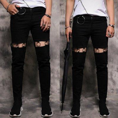 『潮范』 WS6 褲腿破洞牛仔長褲 金屬掛件男士九分褲 牛仔褲 休閒長褲NRG708