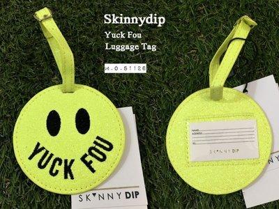 M.O.S1126現貨 英國SkinnyDip Yuck Fou Luggage tag 黃色 笑臉 亮粉 行李箱 吊牌