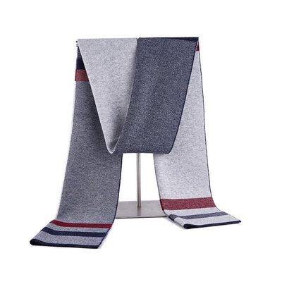 圍巾 羊毛 披肩-保暖拼色針織提花男配件3色73wh54[獨家進口][米蘭精品]