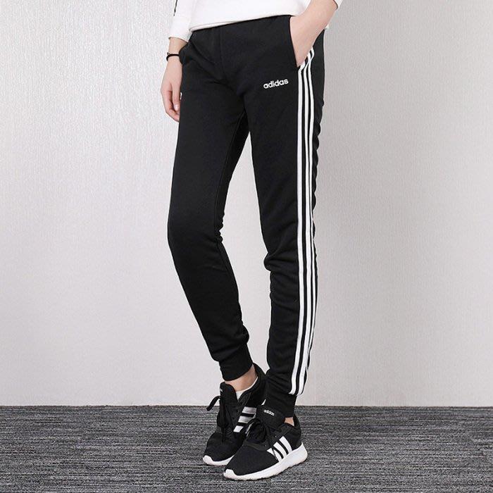 ADIDAS Essentials 3Stripes Pant 排汗透氣 運動褲 -3KG 修身 黑色 DP2380