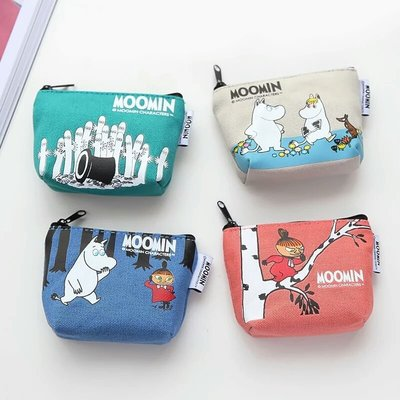 女性用皮包錢包moomin卡通可爱錢包女短款布艺迷你小錢包硬币包韓版帆布零錢袋