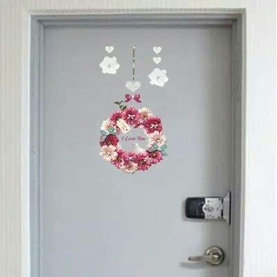 粉紅玫瑰精品屋~韓國蝴蝶結花環玻璃窗貼紙 瓷磚馬桶任意貼紙~