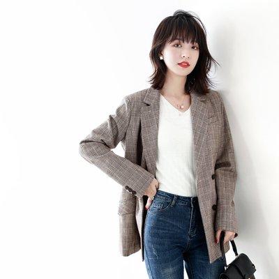☆TANG KOREA*╮正韓 英氣逼人的大女人廓西色織彩紗 雙排扣西裝外套