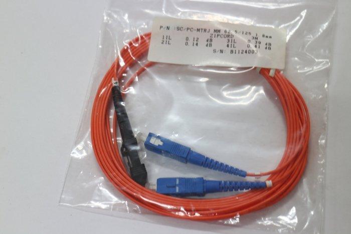 多模62.5/125光纖跳接線 MTRJ-SC接頭 1.8米長