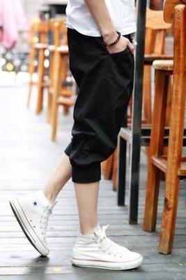 夏季休閒短褲男士七分褲純棉寬鬆黑色小腳哈倫褲學生7分運動褲子