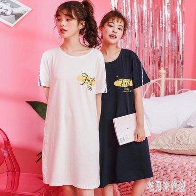 韓版字母睡裙女夏純棉短袖甜美清新簡約睡衣女夏天學生可外穿長裙zh881