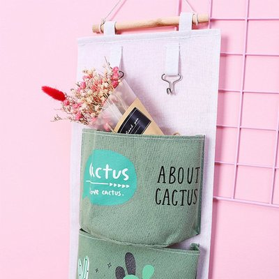 仙人掌草莓紅鶴掛式整理分類雜物三格收納袋【JI2275】《Jami Honey》
