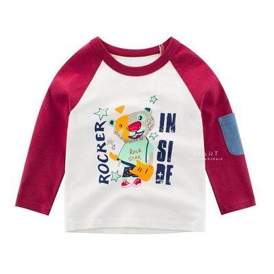 【可愛村】撞色口袋紅色小熊上衣 童裝 長袖上衣 T-shirt