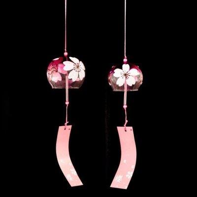 哆啦本鋪 玻璃白櫻花風鈴日式和風紫色創意風鈴掛件 D655