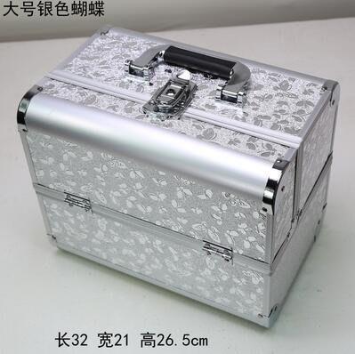 【優上】手提大號化妝箱專業化妝師紋繡工具箱彩妝箱大號銀色蝴蝶