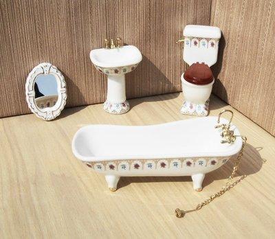 乾一【嘉丹瓷艺】娃娃屋DOLLHOUSE MINIATURE迷你陶瓷浴室模型