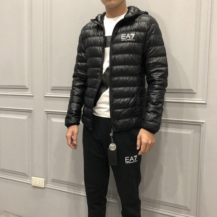【現貨】男 Emporio Armani EA7 LOGO 羽絨 薄款連帽外套 黑色 保證正品 歡迎來店參觀選購