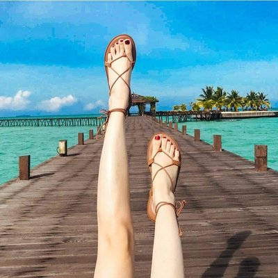 涼鞋涼鞋女夏季仙女風海邊度假網紅羅馬綁帶平底波西米亞夾腳沙灘女鞋   全館免運