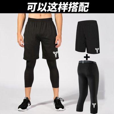 [免運]緊身長褲七分短褲男健身服高彈速乾跑步運動 「粉色世家」