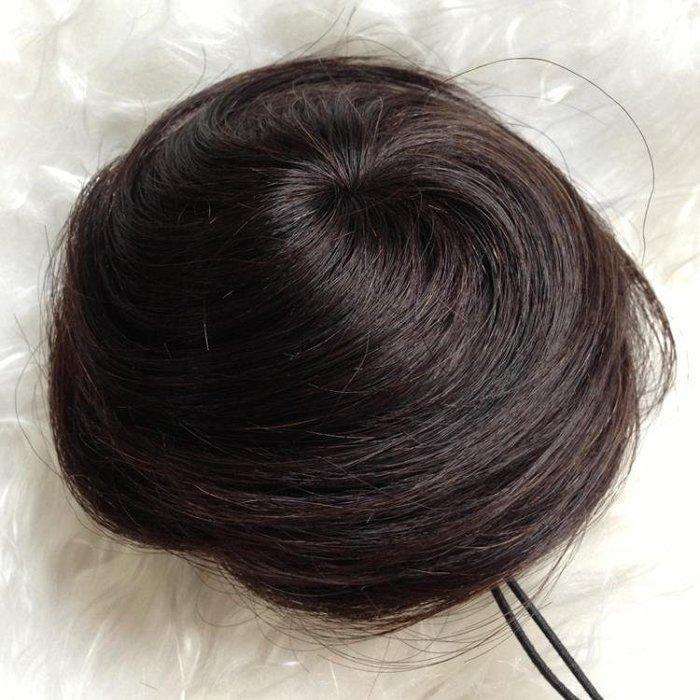 丸子頭真髮直包包頭 丸子頭假包包頭 女假花苞頭蓬鬆新娘盤髮 古裝髮髻髮圈