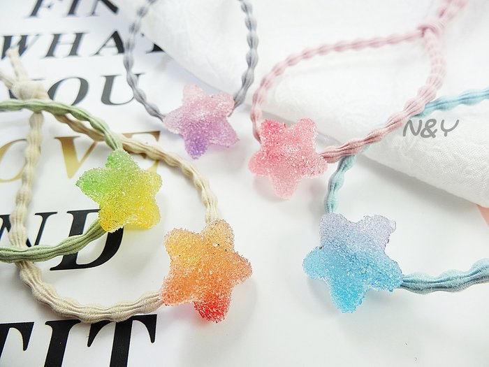 夢幻糖果色愛心星星軟糖髮圈髮飾頭繩髪束髮帶☆【N&Y】HA05