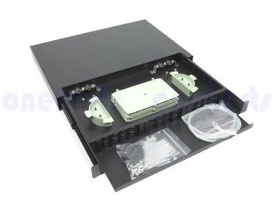 現貨 外銷版 19英吋抽拉式光纖終端盒通盒24口24路 支援 SC LC ST FC耦合器 機櫃式 工作站 伺服器