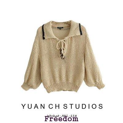 Freedom.核桃家 短款休閒套頭針織衫女歐美風寬松緝線裝飾拼接鏤空毛衣