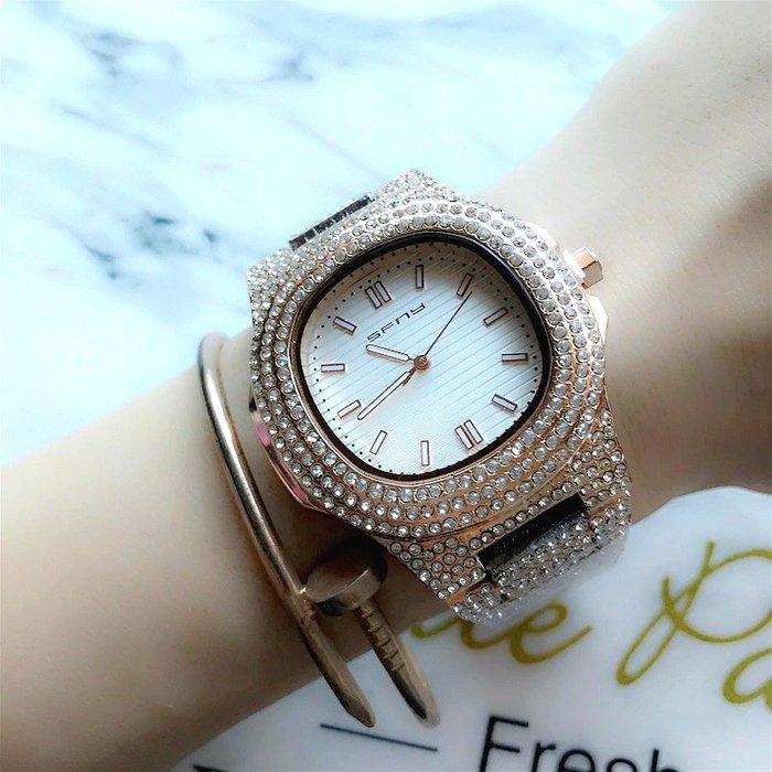 SFNY 新款 奢華時尚方形面外框鑲鑽鋼帶女石英錶【S & C】