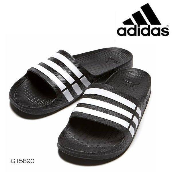 【鞋印良品】adidas 愛迪達 DURAMO SLIDE 黑 白 三條 一體成型 運動 拖鞋 輕量 防水 G15890