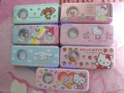 (2件 150 中)SANRIO 三麗鷗(Kitty 大耳狗)雙層開窗鐵筆盒鉛筆盒(7-113D悠遊卡甜點兔 美樂蒂)